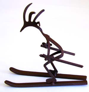 Skiing Kokopelli Figure