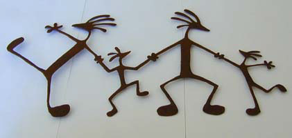 Iron Kokopelli Family Wall Hanging